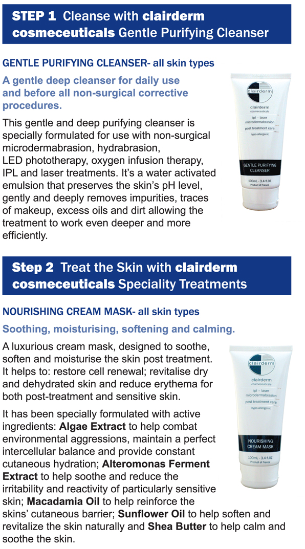 Clairderm-Cosmeceuticals-step 1 and 2